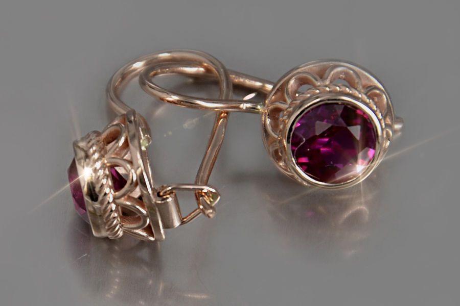 Verb117 Russian Rose Soviet Ussr 14k Gold Vintage Ruby Earrings Unique Ebay Gioielli Orecchini Retro
