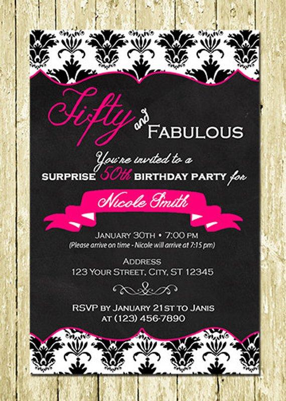 50 And Fabulous Adult Digital Chalkboard Invitations