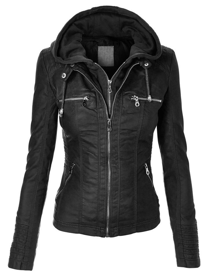 cce509012 MBJ Womens Faux Leather Zip Up Moto Biker Jacket With Hoodie | Girls ...