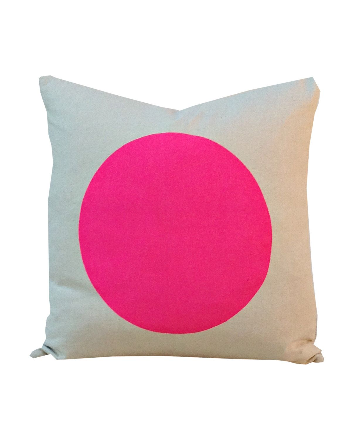 cd0fe51bd9 Cushion, Cushion Cover, Pillow Cover, Throw Pillow - Neon Pink Large Circle  by