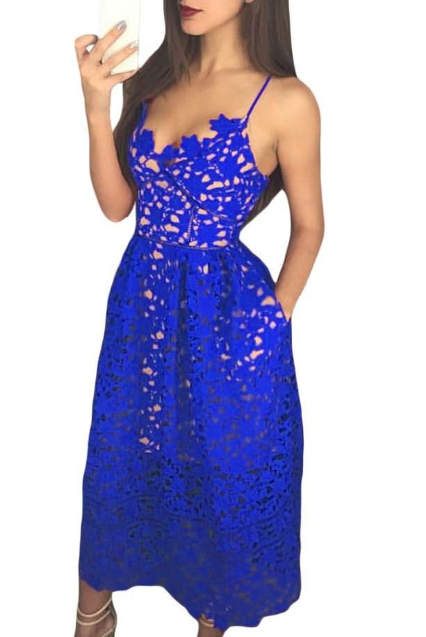e9d53260b24 Royal Blue Lace Hollow Out Nude Illusion Cocktail Party Dress modeshe.com