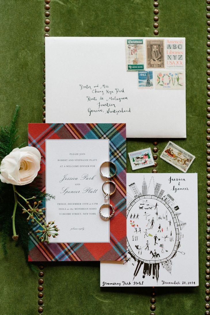 Custom Wedding Invitations with Red and Green Plaid