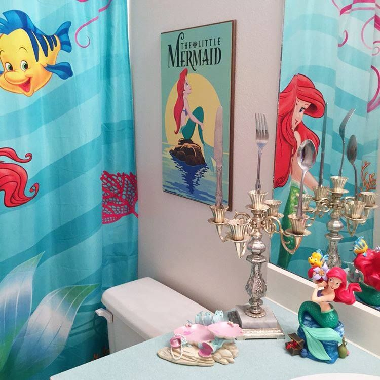 Ariel Inspired Bathroom Disnerds Credit Kelseymichelle85 Mermaid Bathroom Decor Girl Bathroom Decor Girl Bathrooms