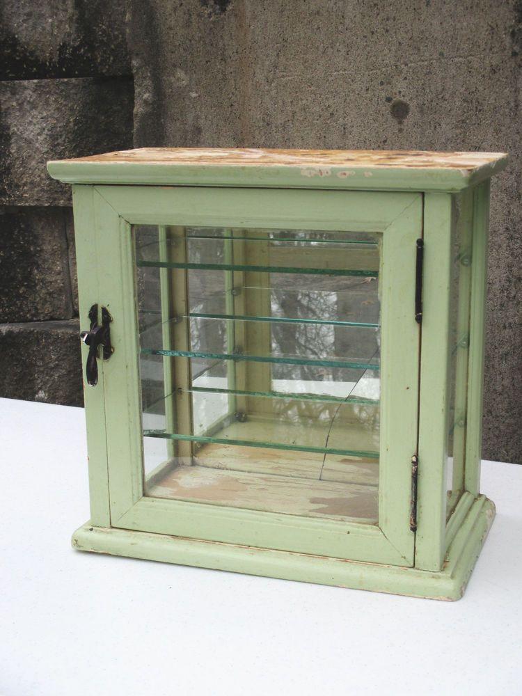 Vintage Medicine Cabinet Sterilizer Barber Shop Display Wood Glass Brass Latch