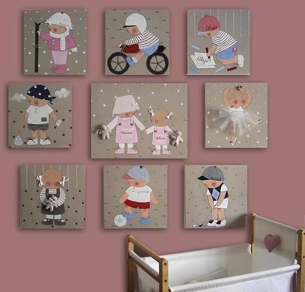 Decoracion bebes cuadros personalizados stencil barcelona2 - Cuadros habitacion infantil ...