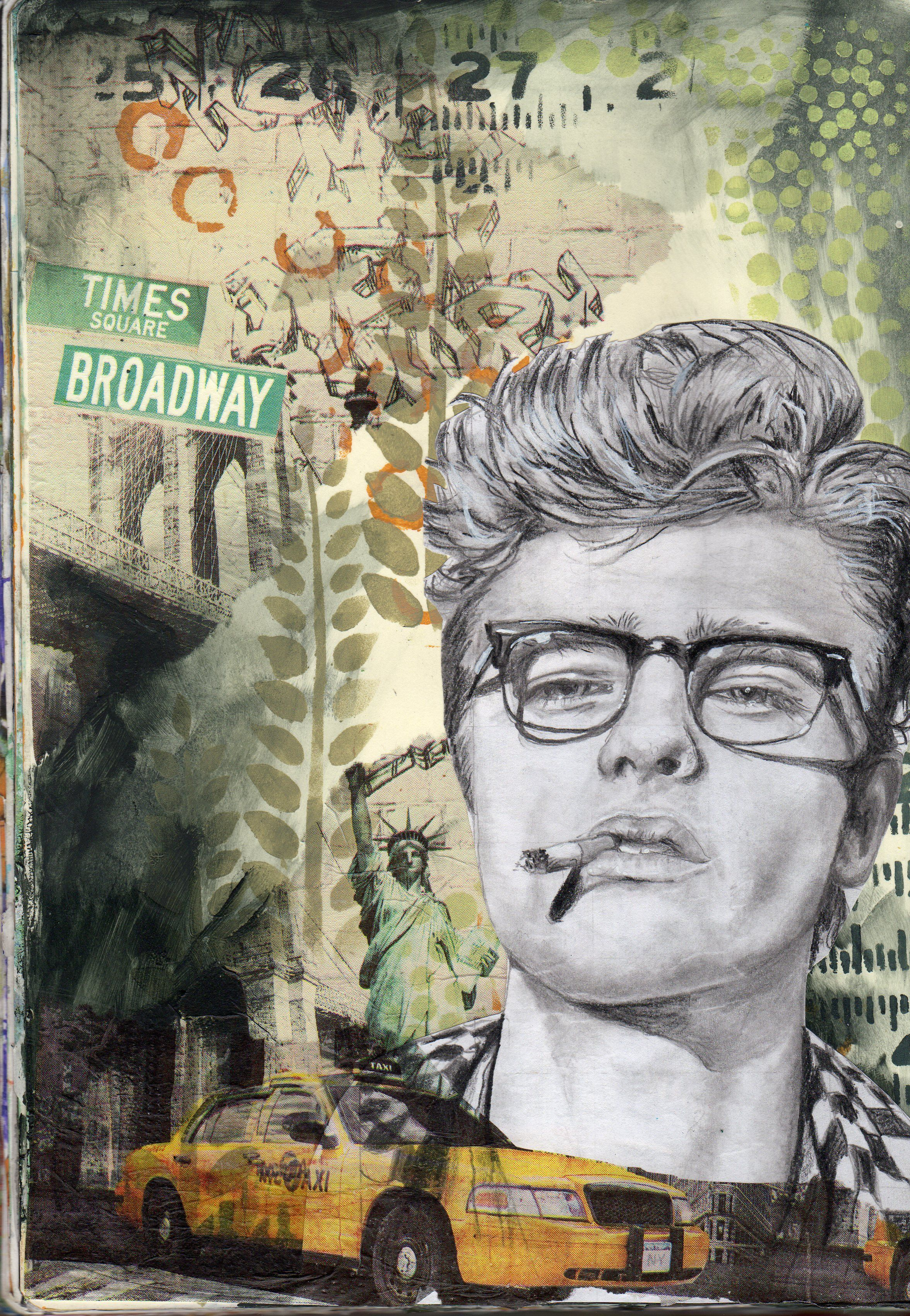 Collage and acrylic paint background pencil drawing of james dean by kathy arbour