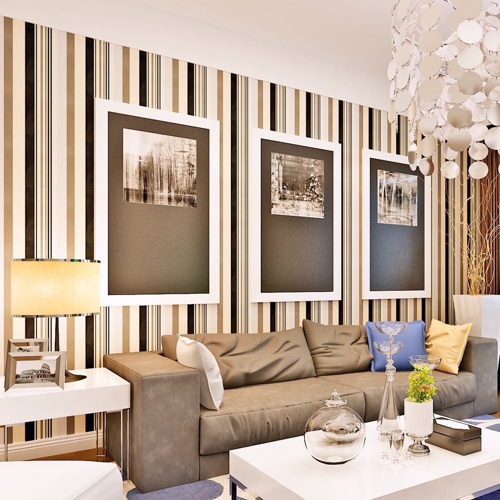 Thick Diagonal Striped Pattern Accent Wall: Accent Wall Modern Narrow Stripes Embossed PVC Wallpaper