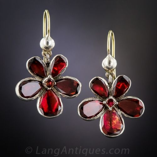 Antique Garnet Floral Earrings