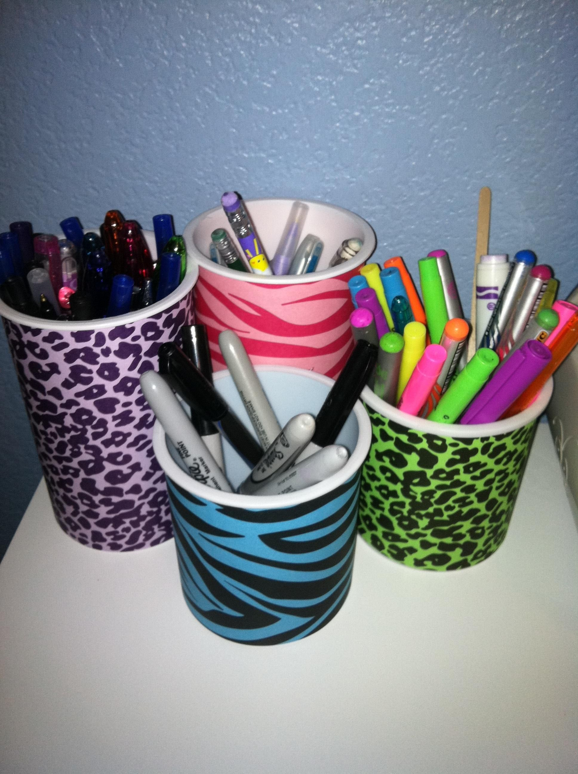Made Out Of Frosting Containers Colored Paper D It Can Hold Pencils Pens Crayons Markers And If Your Having A P Crafts Recycled Projects Colored Paper