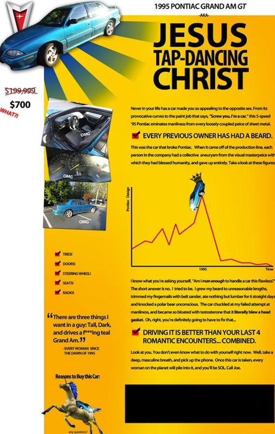 The Best Used Car Ad Ever With Images Pontiac Grand Am