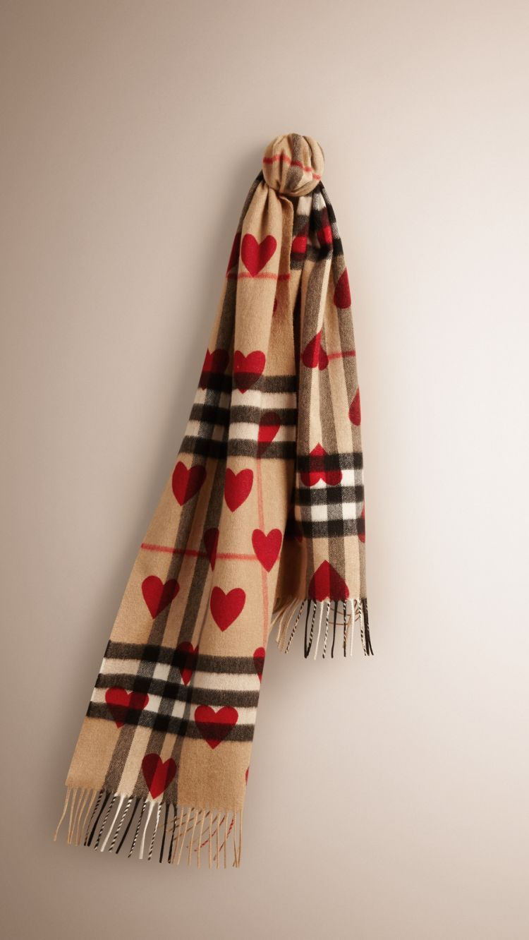 0c5ed24f080c The Classic Cashmere Scarf in Check and Hearts   Hearts   Burberry ...