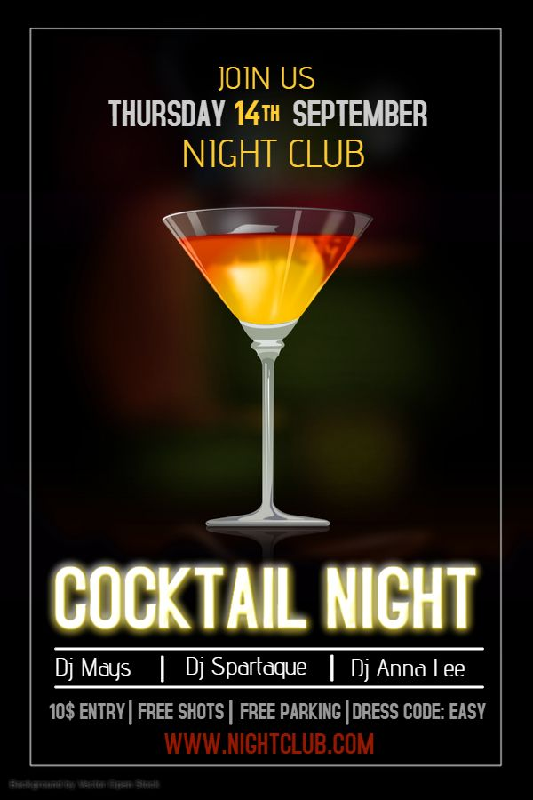 Bar Cocktail Party Poster Template Click To Customize  Bar