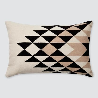 modern lumbar pillow in black cream