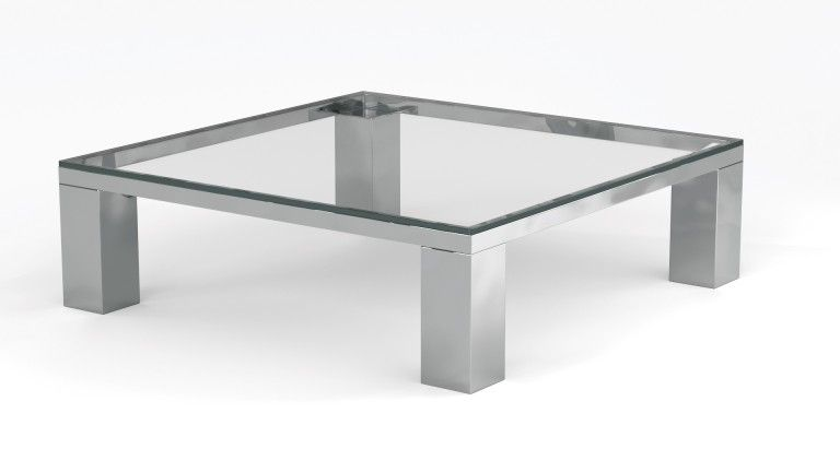 table basse carree 110cm pieds metal