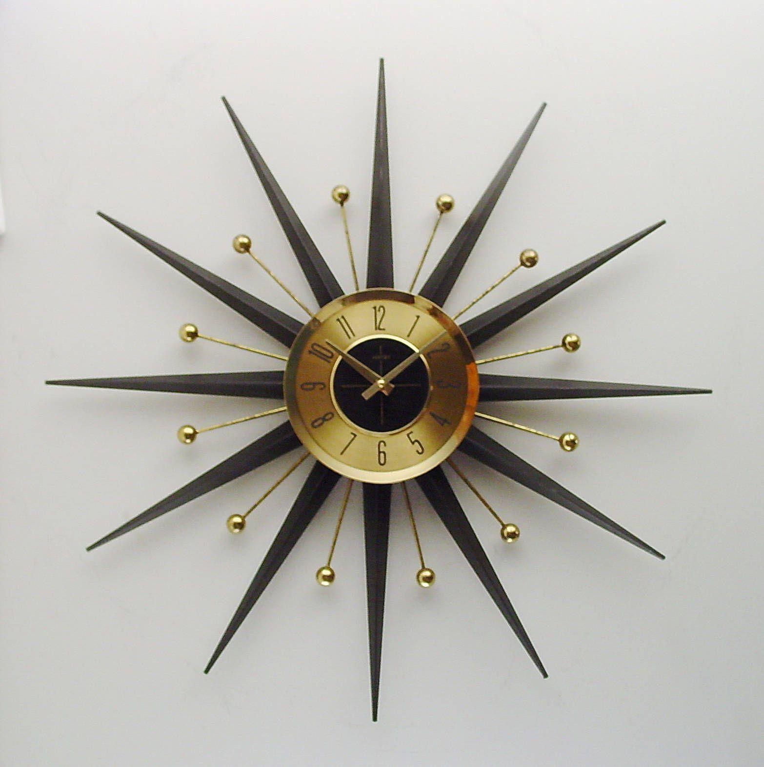 Mid Century Starburst Clock Classic Vintage Atomic Era Design By Welby Mid Century Modern 1960s Sunburst Wall Clock Clock Sunburst Clock Wall Clock