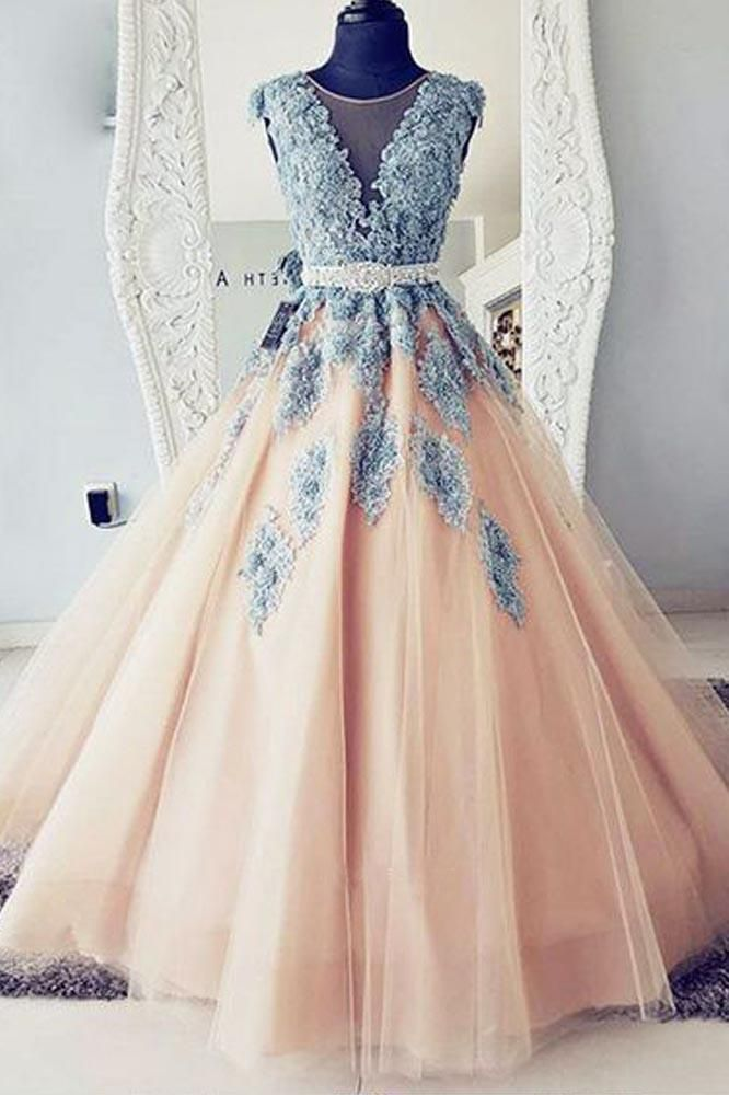 bcc22dcb4bd Puffy Round Neck Teal Blue Lace and Peach Tulle Long Prom Dresses N1430 –  Simibridaldress