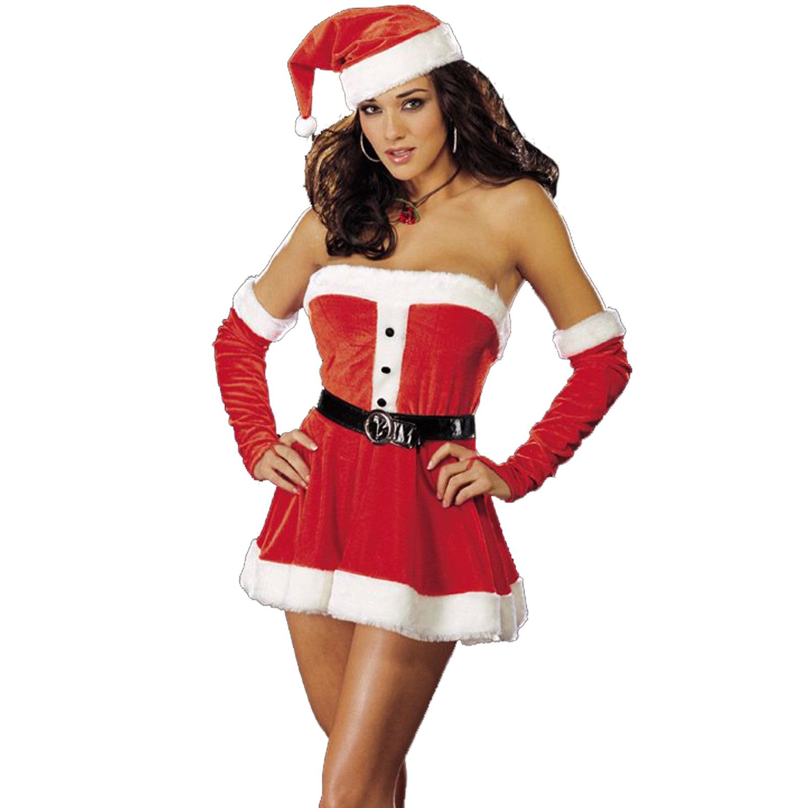 Wraped low cut red sexy mrs santa claus costume melodicday