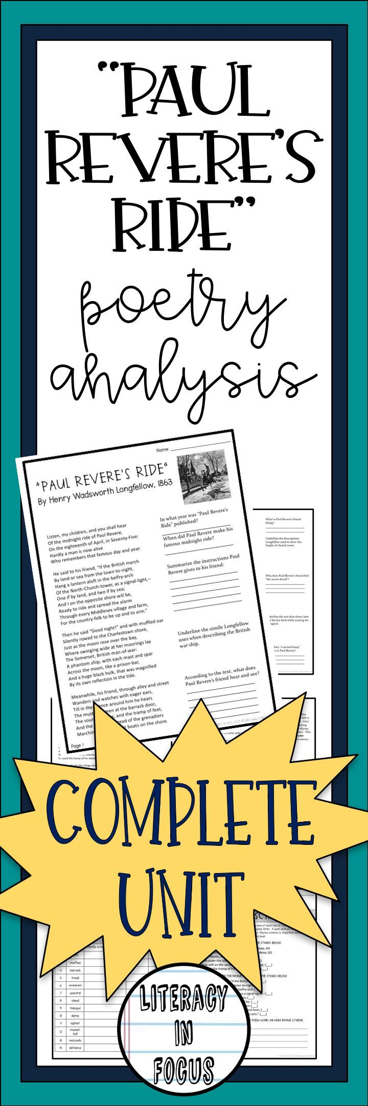 Paul Revere S Ride Poetry Activity Longfellow Poetry Analysis Paul Revere Language Arts Lesson Plans
