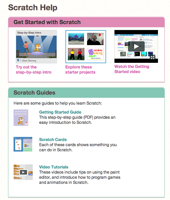 Scratch Help Page: a good starting place is this Getting