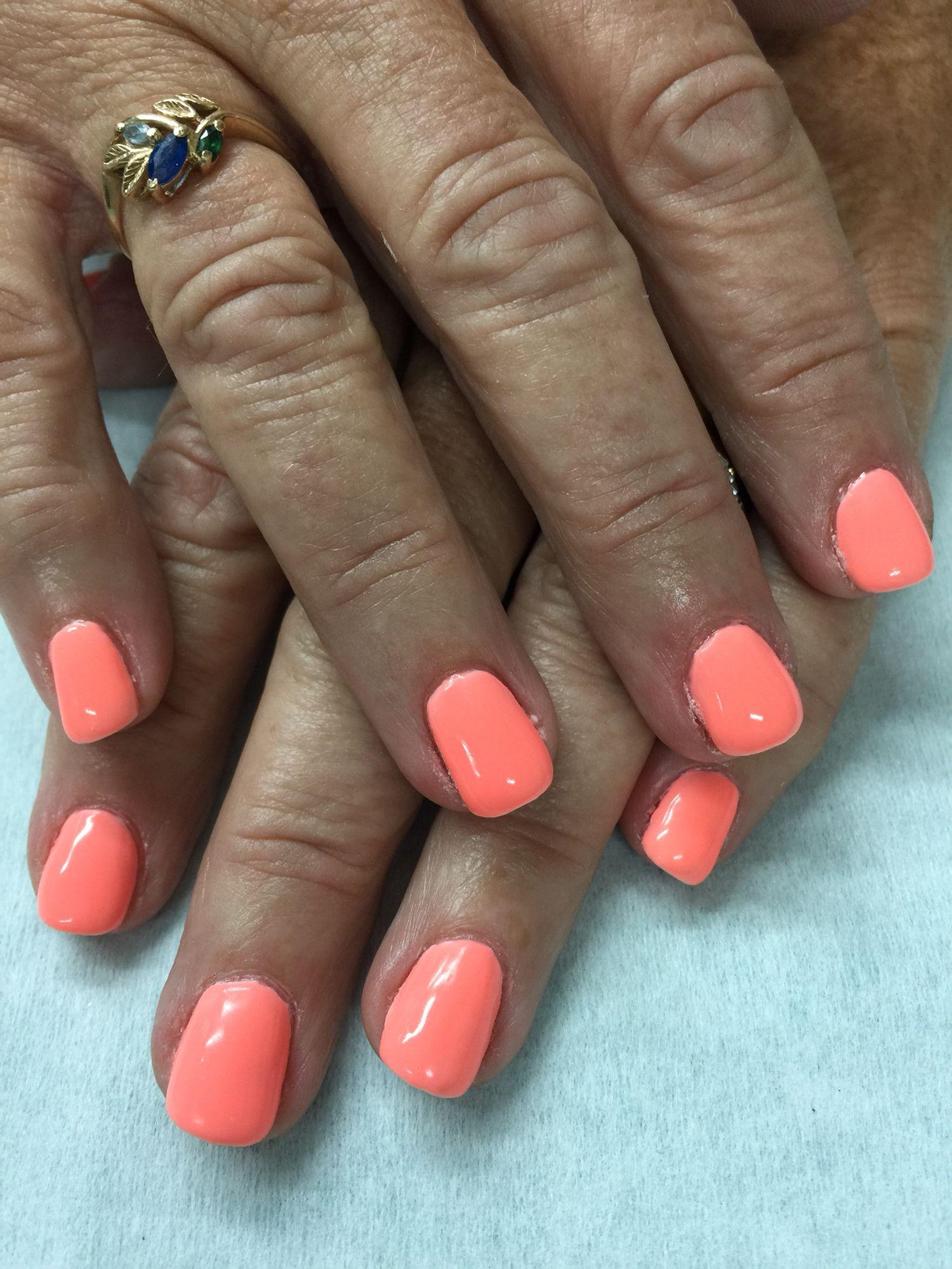 Neon cantaloupe gel polish over non-toxic odorless hard gel. | Gel ...