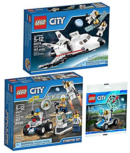 Lego City Space Explorer Bundle Space Utility Shuttle 60078 Space Starter Set 60077 And Mini Moon Buggy Vehicle 30315 Be Sur Lego City Space Lego City Lego