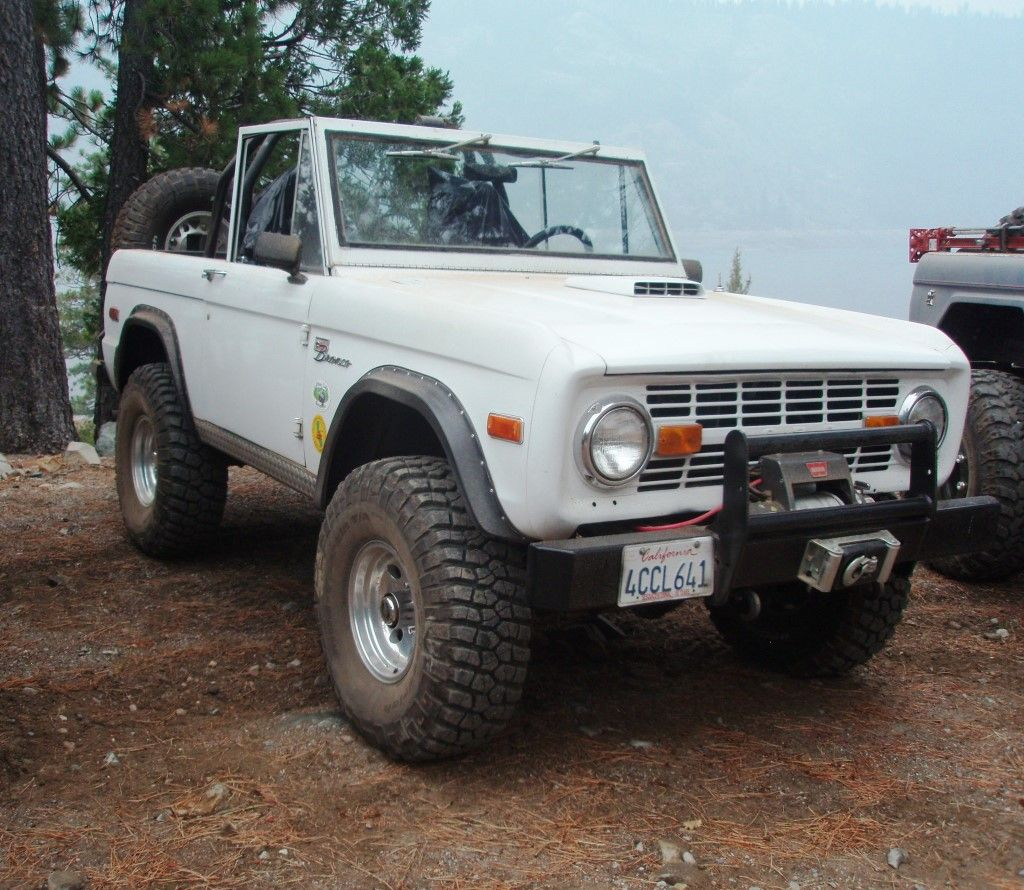Nice White Early Bronco With The Top Off And Ready For The Beach
