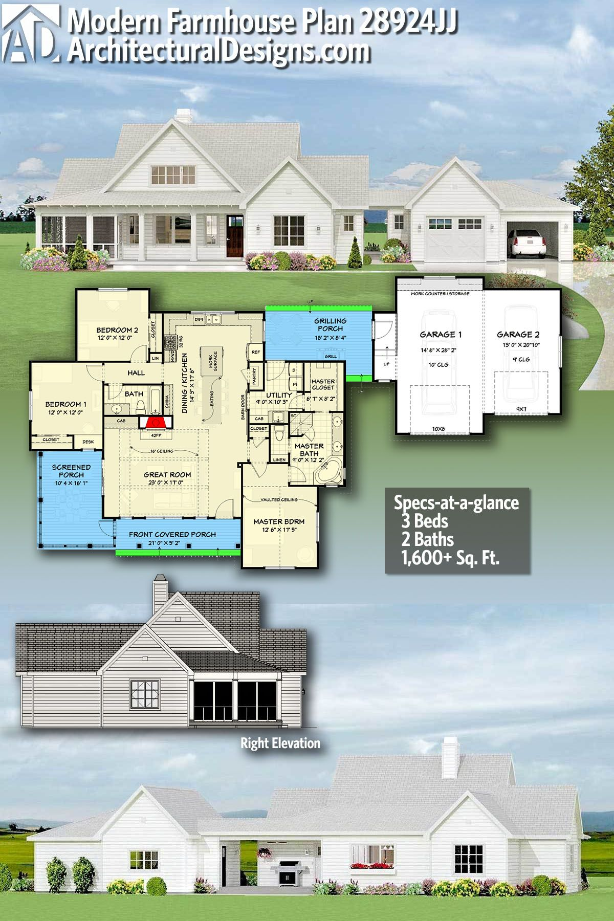 Plan 28924jj Modern Farmhouse With Semi Attached Garage