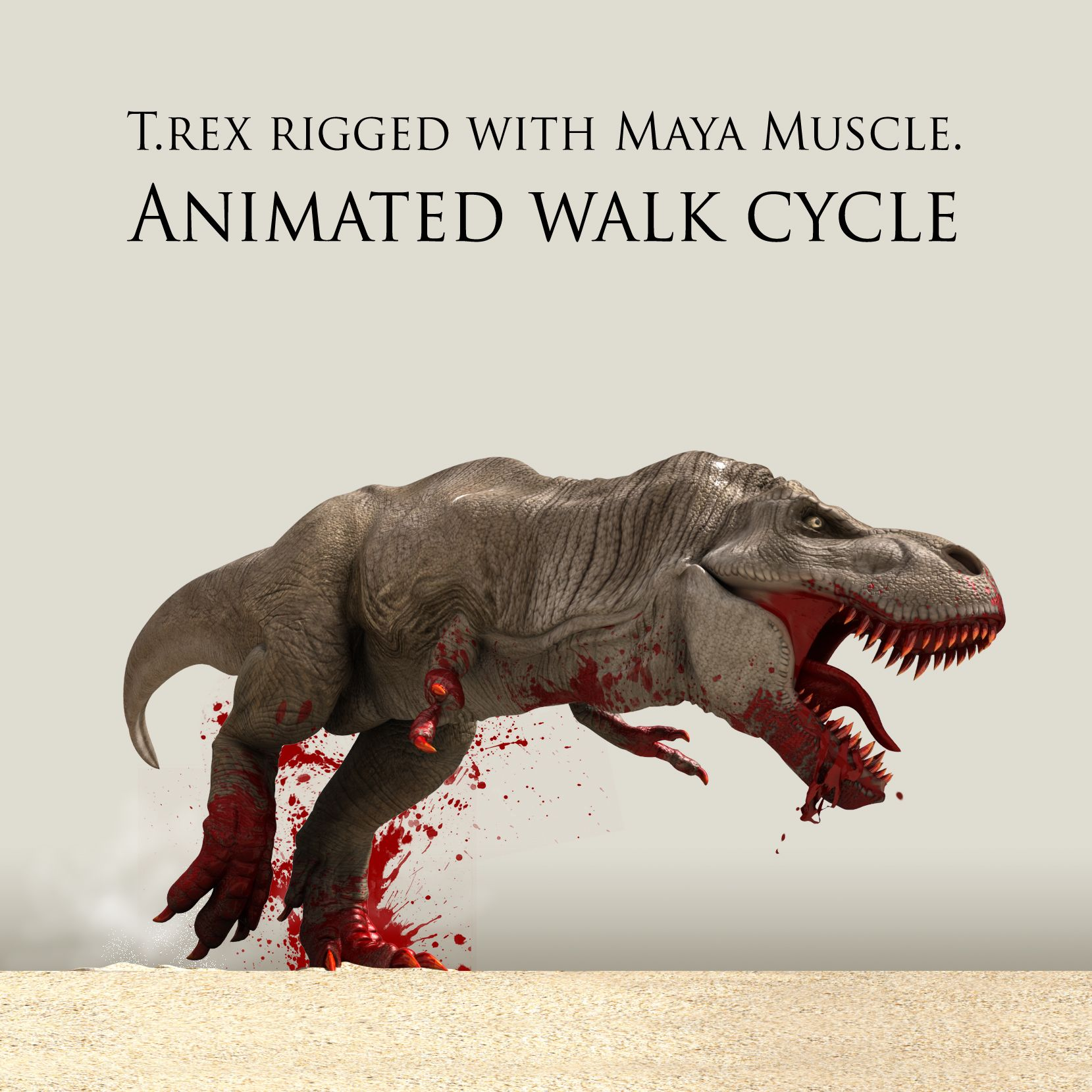 Animated T.rex with muscle system for Maya 2014+, New