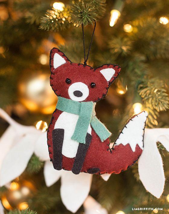 Felt Fox Ornament : ornament, Animal, Ornament, Griffith, Christmas, Ornaments,, Christmas,, Pattern