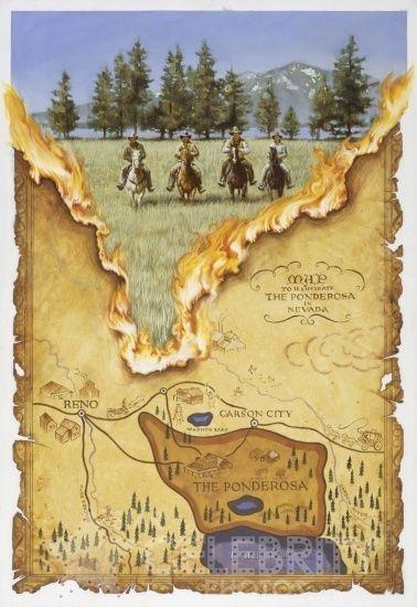 Bonanza - The Ponderosa map burning | Ols..Blast from my past ... on bonanza ranch nevada map, nevada ponderosa ranch map, idaho craters of the moon map,