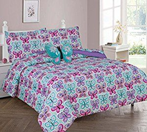 Twin Full 6 Pcs Or 8 Comforter Coverlet Bed In Bag Set With Toy Erfly Blue Home Kitchen