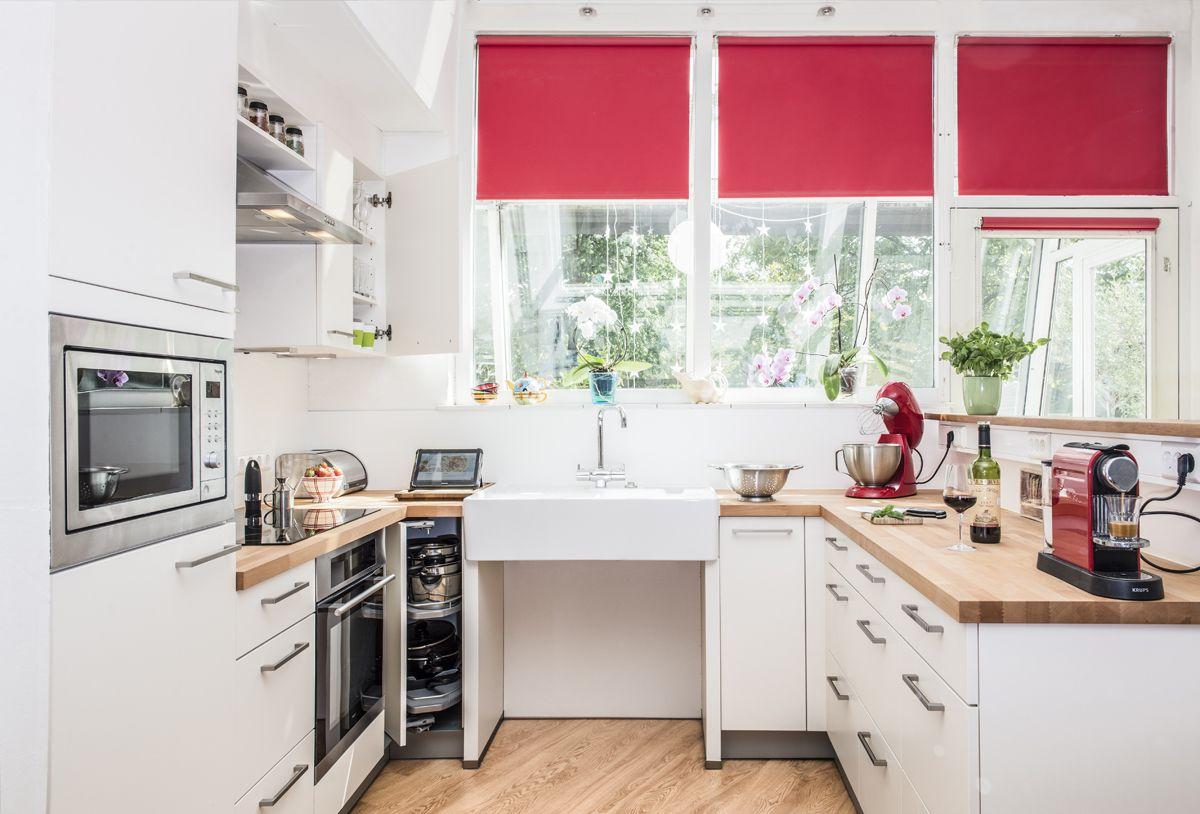 Aangepaste keuken werkbladen keukenkastdeuren overdekte moestuin