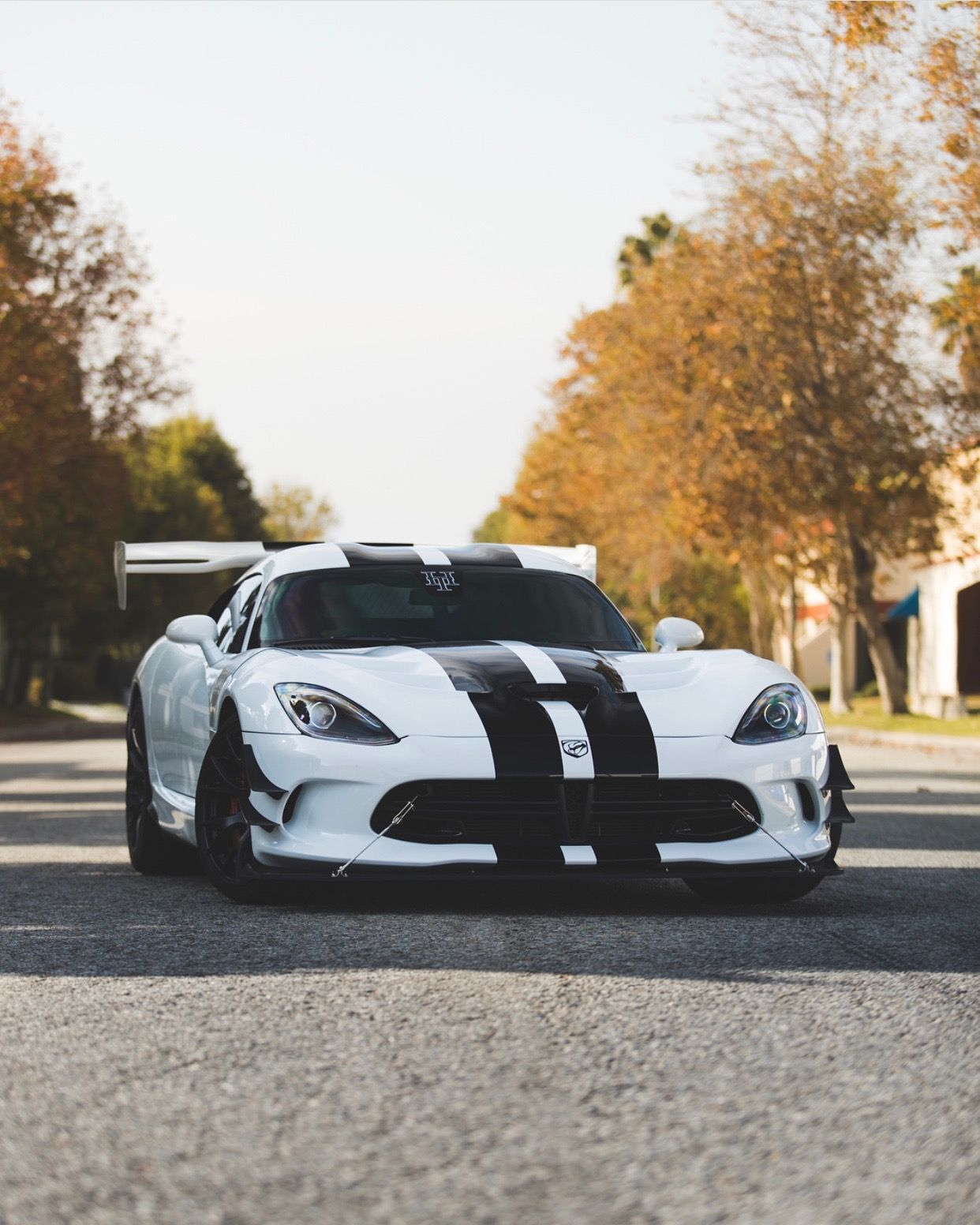 Dodge Viper ACR Painted In White W/ Black Central Stripes