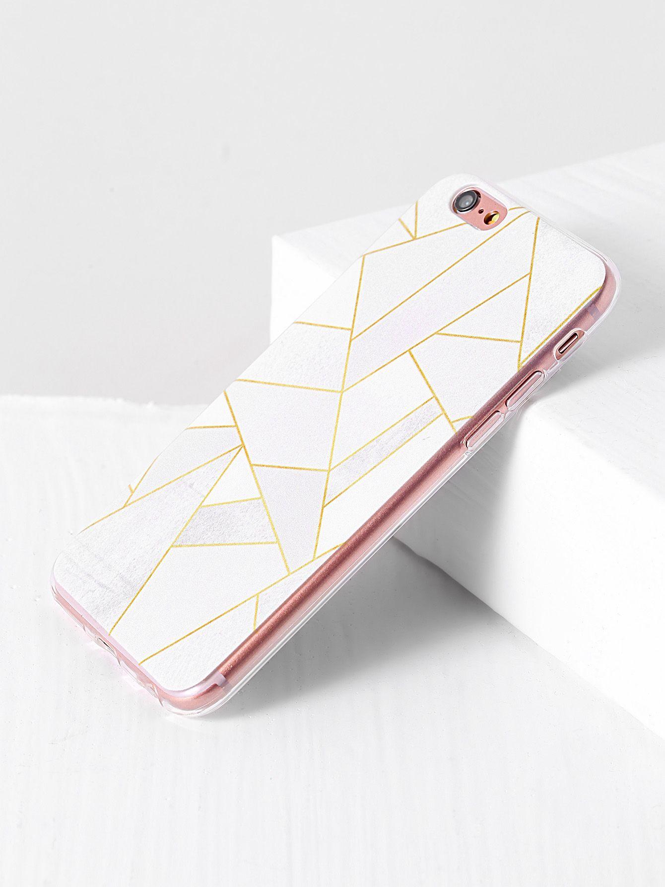 f948460531 White Geometric Pattern iPhone 6/6s Case -SheIn(Sheinside) | Make ...