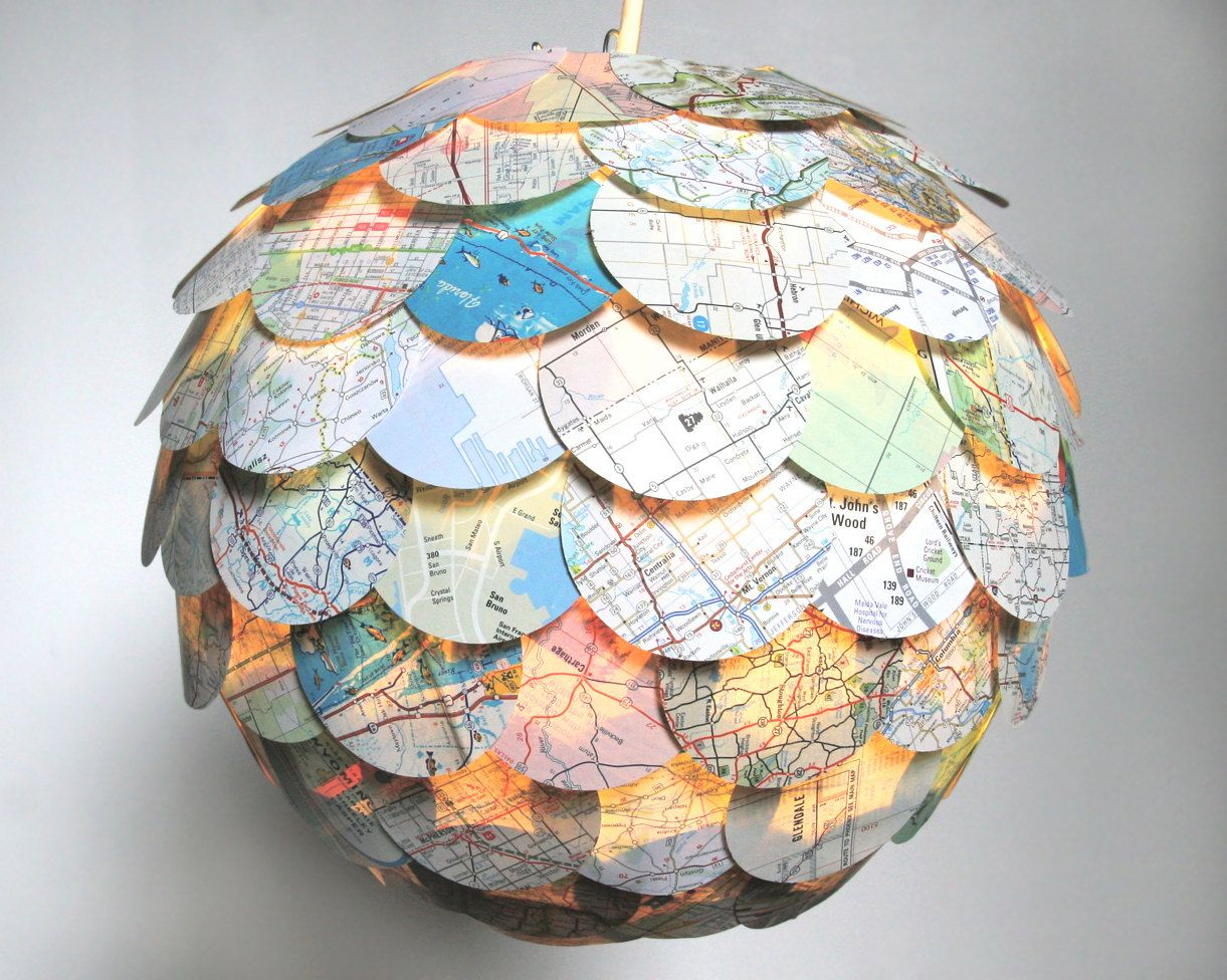 The manhasset road map pendant light hanging paper artichoke artichoke road map pendant light hanging paper lantern shade only 8500 via aloadofball Image collections