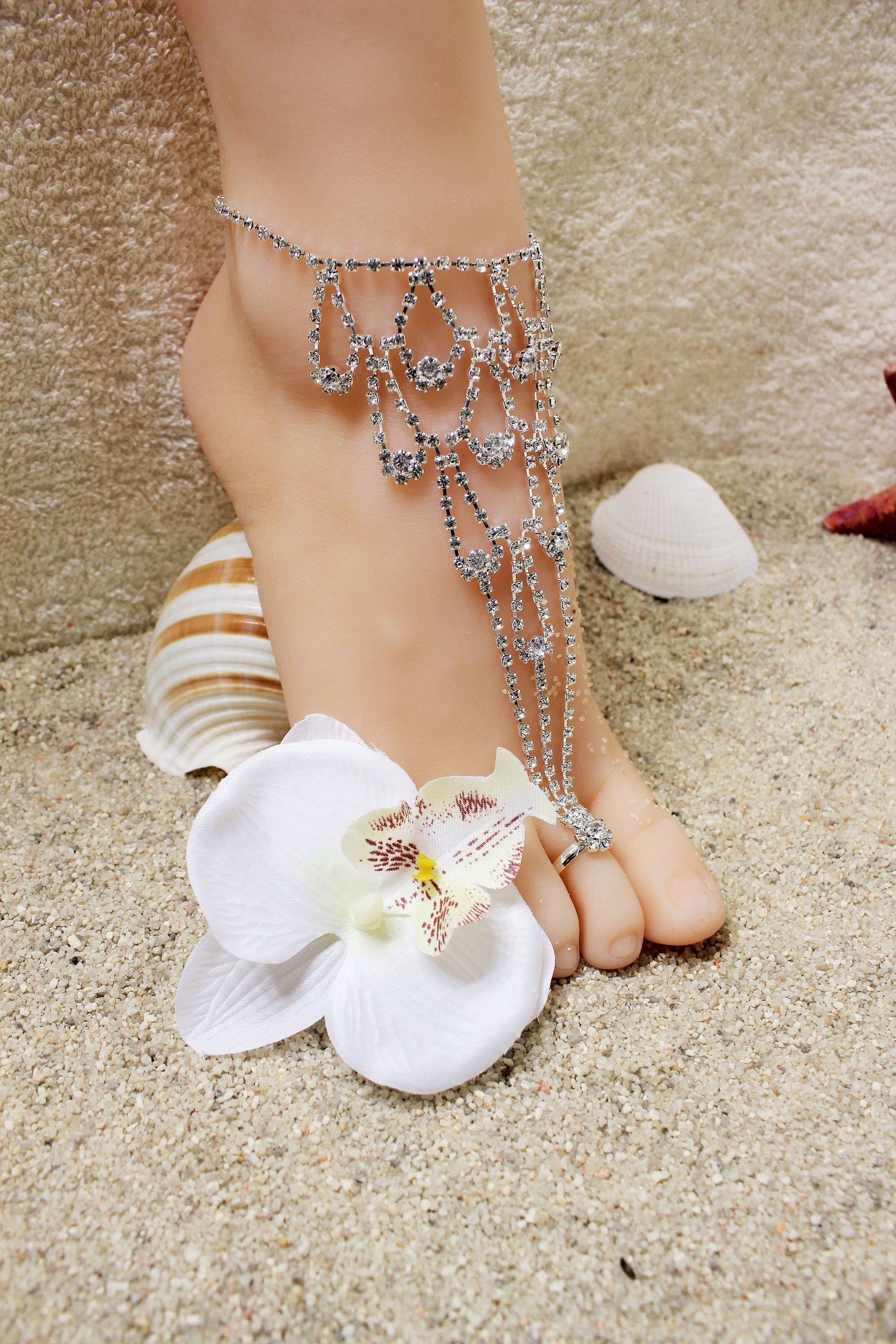 Crystal Rhinestone Barefoot Sandal Bridal Foot Jewelry Bridesmaid
