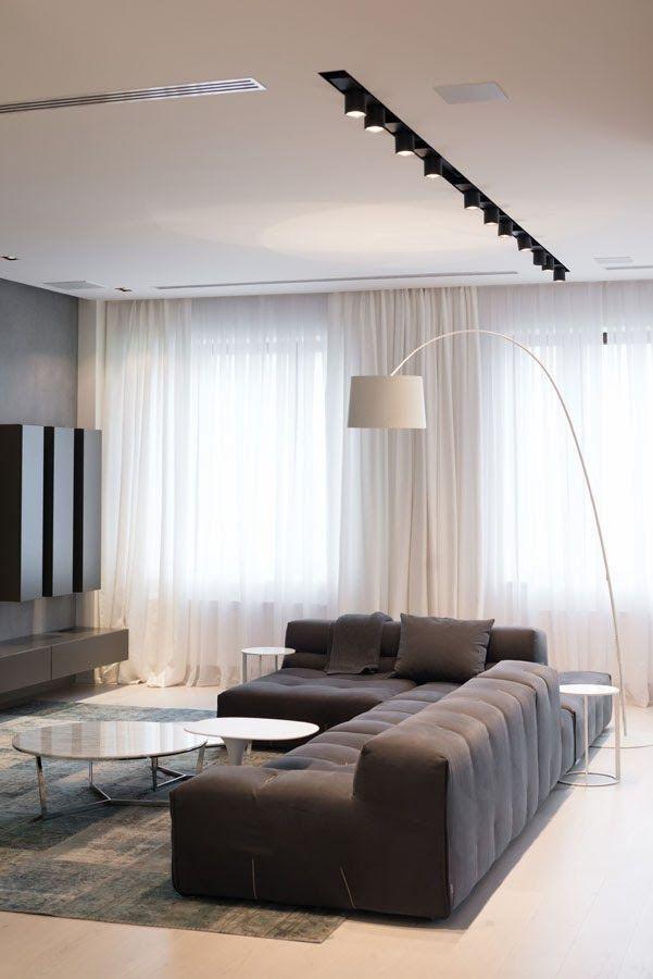 Contemporain en blanc gris et bois en 2019 decoration Rideaux salon moderne 2017