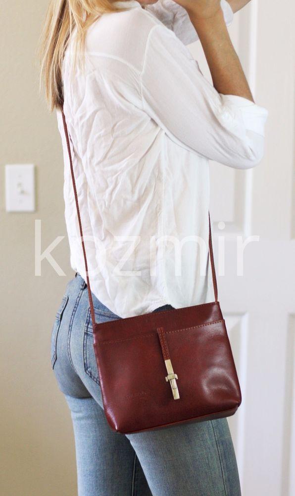 Florence Made In Italy Leather Shoulder Bag Small Crossbody Purse Handbag Shoulderbag