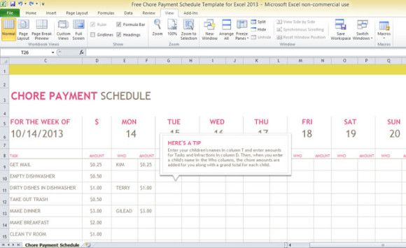 Free Chore Payment Schedule Template For Excel    Living