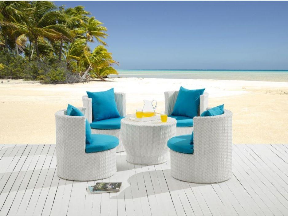 Salon de jardin sao paulo en r sine tress e blanche une - Table bar resine tressee ...