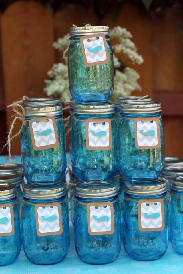 Pin By Jeanie Mccreery On Fun With Crafts And Baking Whales Baby Shower Mason Jar Baby Shower Elephant Baby Shower Boy