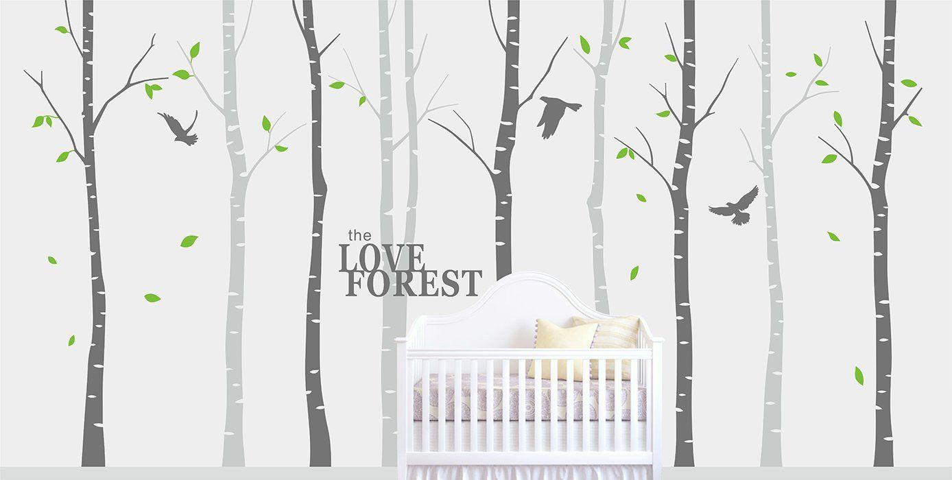 Decalshut Großer Wandaufkleber Birke für Kinderzimmer Wandtattoo Wohnzimmer an