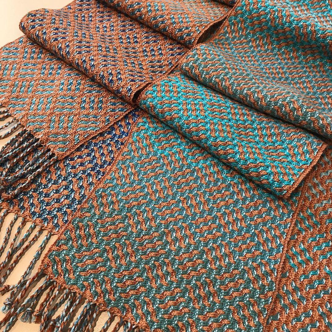 "@marybentleyweaver shared a photo on Instagram: ""16 Shaft Deflected Double Weave by Mary Bentley. Alpaca and merino. #sunshinecoastbc #weaversofinstagram  #canadianweaver"" • Aug 23, 2020 at 12:29am UTC"
