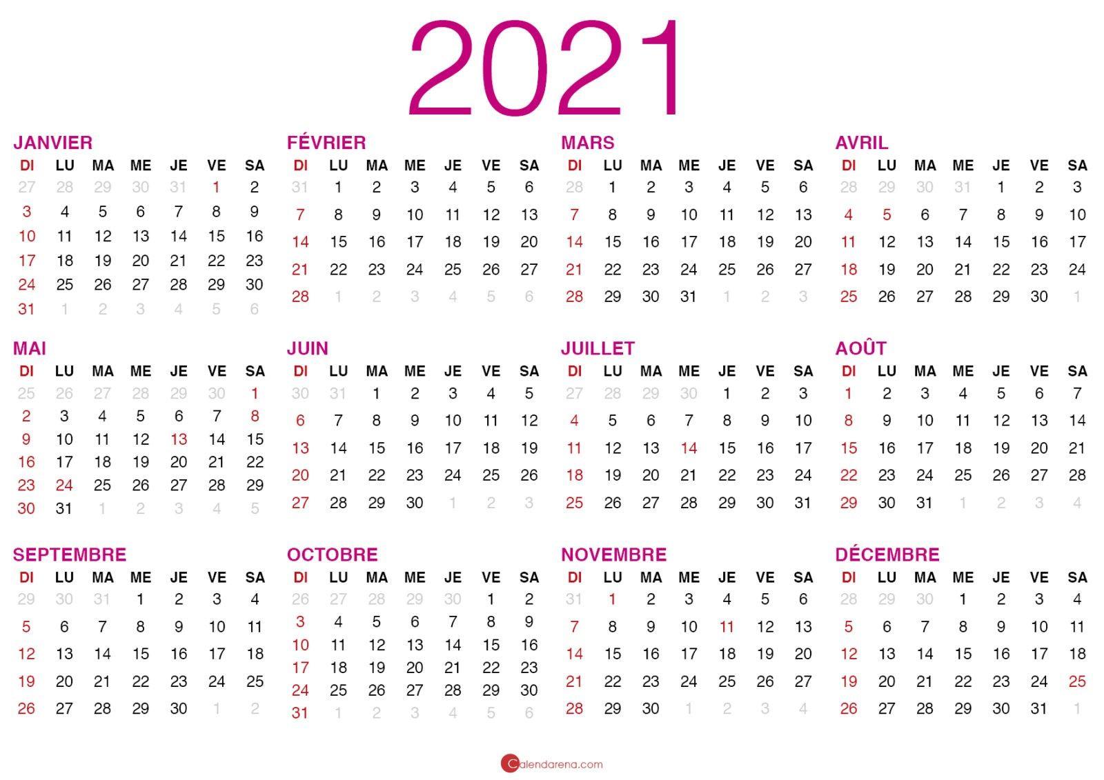Faire Calendrier 2021 Calendrier 2021 à imprimer en 2020 | Calendrier à imprimer