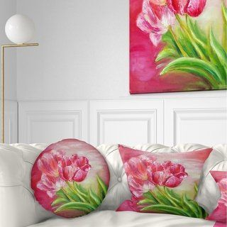 Designart 'Red Tulips in Red Background' Floral Throw Pillow (Square - 26 in. x 26 in. - Large), Pink, DESIGN ART(Polyester)