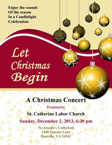 Church Concert Christmas Flyer Template Christmas Flyers - advertising flyers templates free