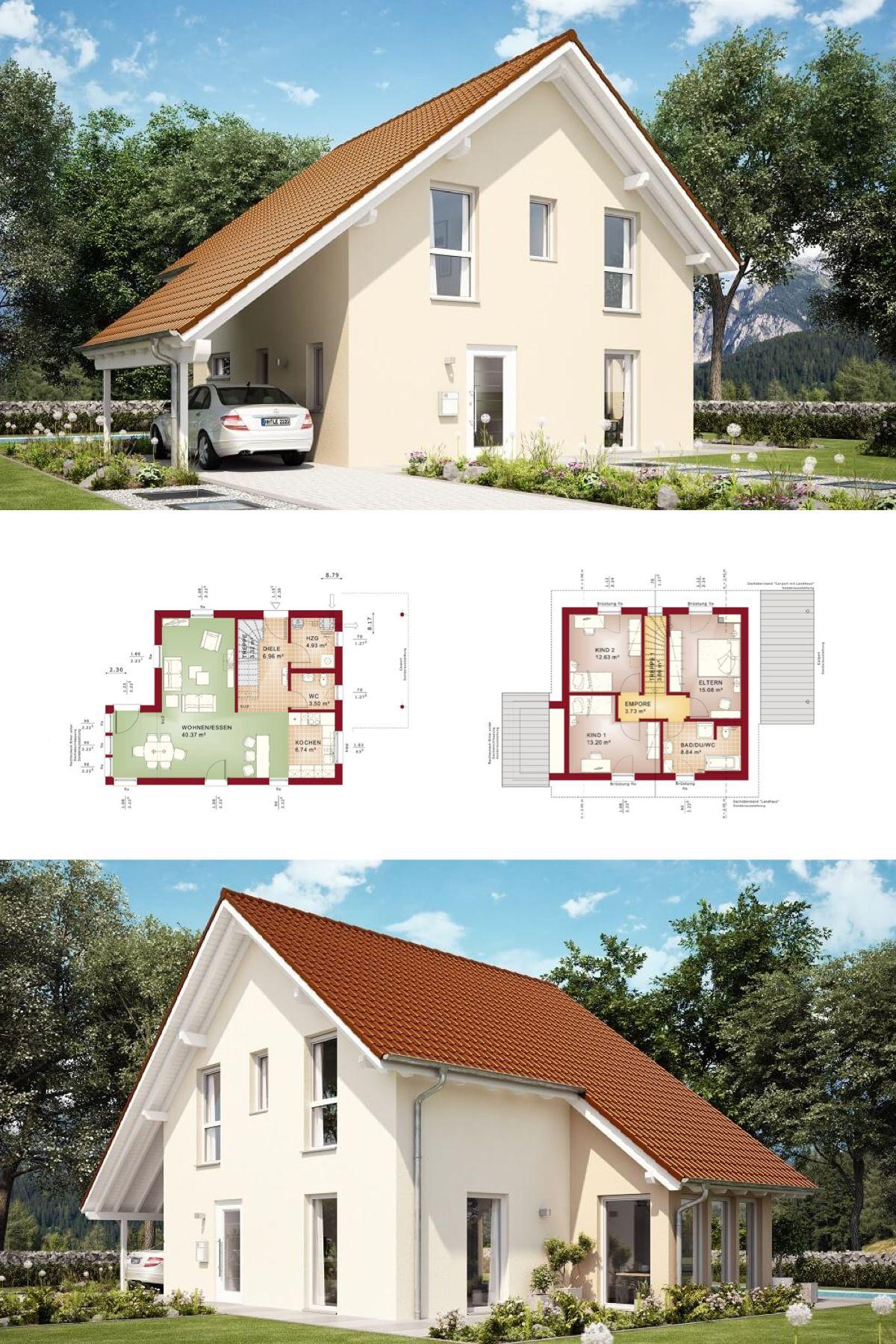 Elegant Einfamilienhaus Mit Satteldach | Haus Evolution 116 V8 Bien Zenker |  Modernes Fertighaus Bauen Satteldach Fassade