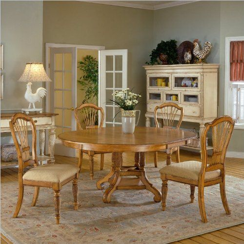 Wilshire 7 Piece Round Dining Set With Side Chairs Antique Pine Interesting 7 Piece Round Dining Room Set Decorating Design