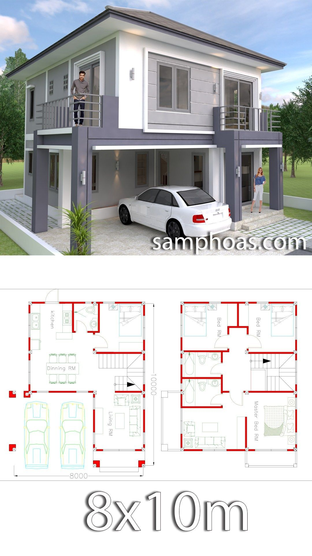 4 Bedrooms Home Design Plan 8x10m Samphoas Plansearch Simple House Design Duplex House Plans Simple House Plans
