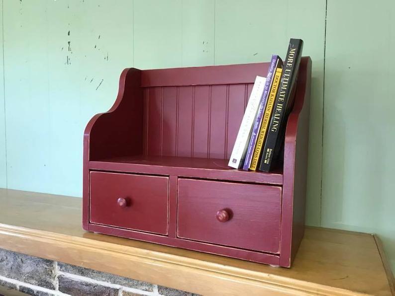Recipe Card Holder Box And Cookbook Bookshelf Counter Top Etsy Recipe Card Holders Card Box Holder Kitchen Cabinet Storage